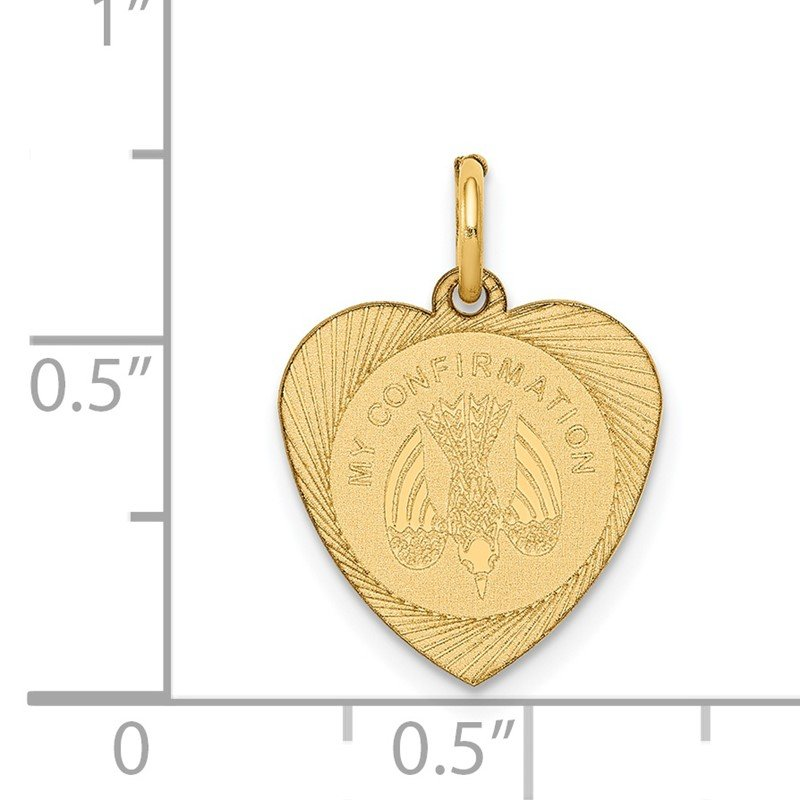 Quality Gold 14k My Confirmation Heart Disc Charm