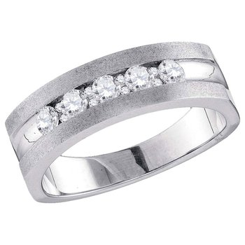 10kt White Gold Mens Round Diamond Single Row 5-Stone Wedding Band Ring 1/2 Cttw