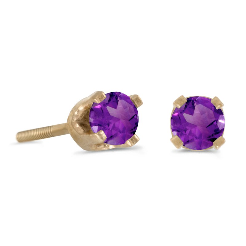 Color Merchants 3 mm Petite Round Amethyst Screw-back Stud Earrings in 14k Yellow Gold