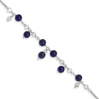Sterling Silver Shadow Crystal/Lapis Anklet