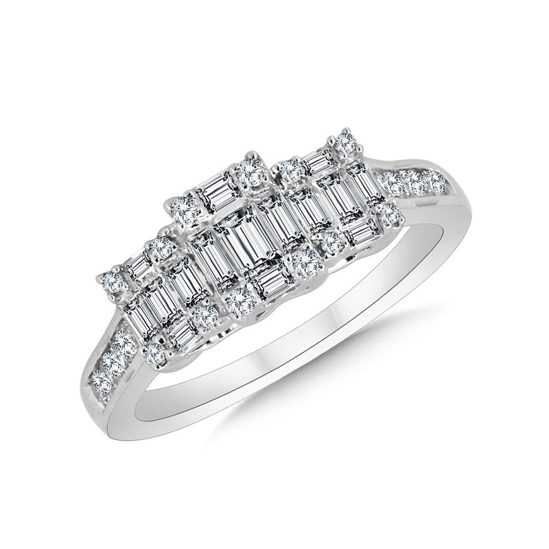 SDC Creations 3-Stone Illusion Plumb Collection Cluster Diamond Ring