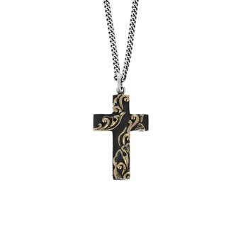 Cross With Gold Alloy Scroll Accents