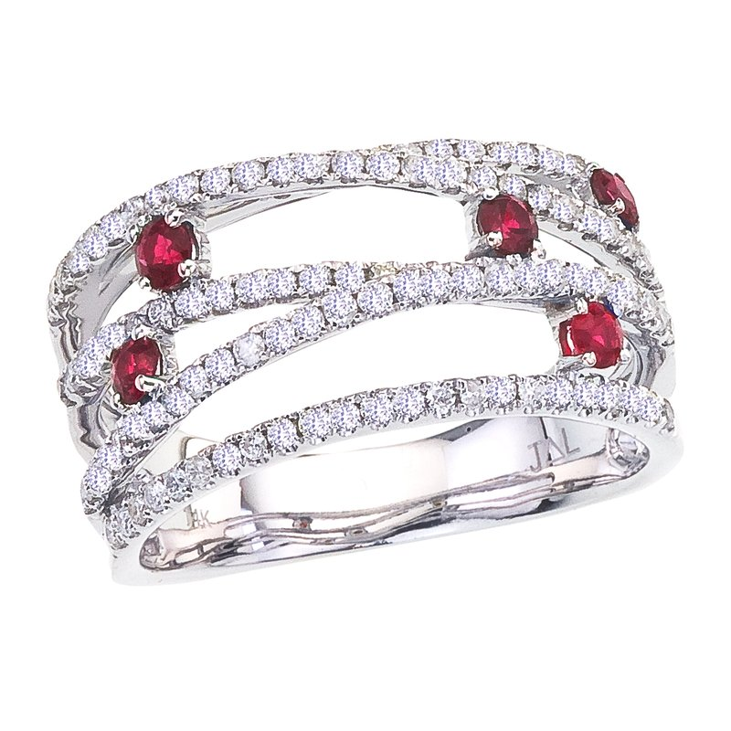 Color Merchants 14k White Gold Ruby and Diamond Bypass Ring
