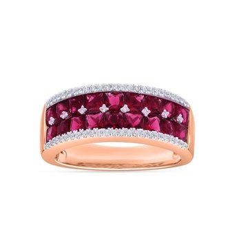 14K 0.24Ct Diamond Ruby Ring