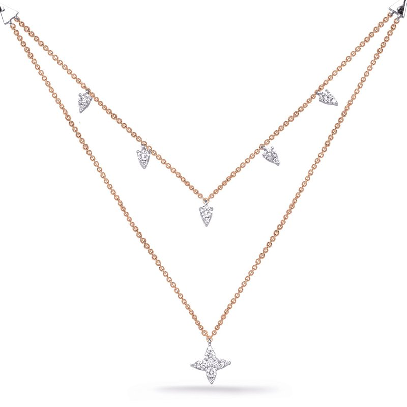 S. Kashi  & Sons Rose & White Gold Diamond Necklace