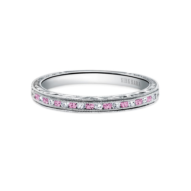 Channel Set Pink Sapphire Diamond Wedding Band