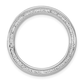 14k White Gold 3/8ct. Diamond Channel Set Large Circle Chain Slide