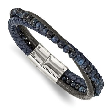 Stainless Steel Polished with Blue Chalcedony/Tiger's Eye Leather Bracelet