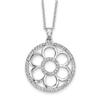 Sterling Silver CZ My Special Friend 18in. Necklace