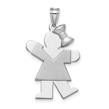 14k White Gold Medium Girl w/Bow on Right Engravable Charm