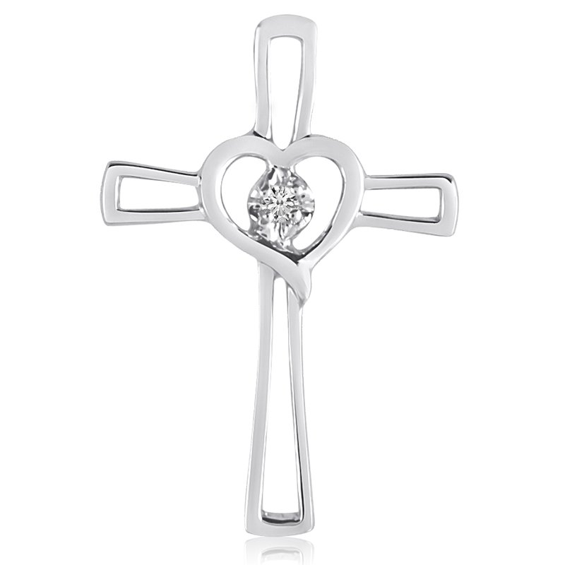 Color Merchants 14K White Gold Diamond Cross Pendant