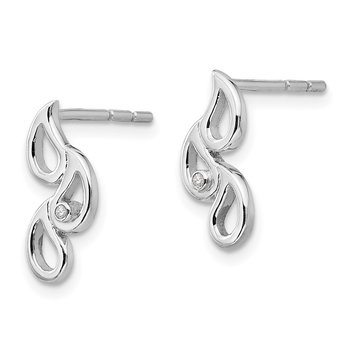 SS White Ice Diamond Raindrop Post Earrings