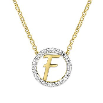 "Gold and Diamond Mini Halo ""F"" Initial Necklace"