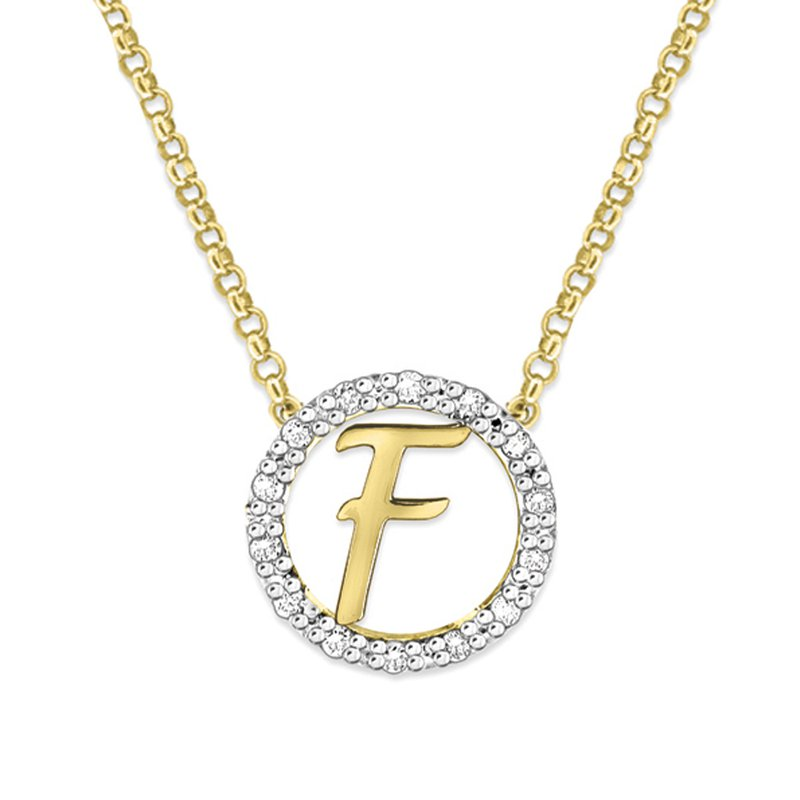 "KC Designs Gold and Diamond Mini Halo ""F"" Initial Necklace"