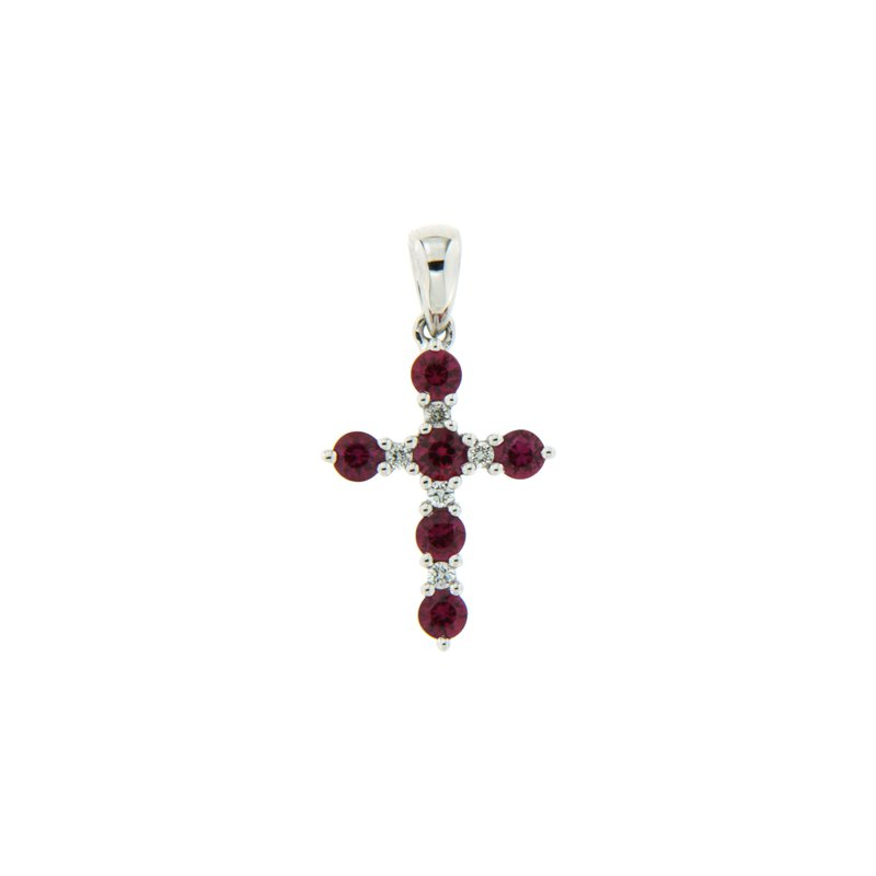 Paragon Fine Jewellery 18k White Gold Pendant with Ruby & Diamond