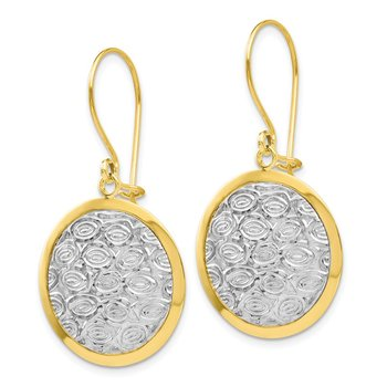 Leslie's 10K w/ Rhodium Polished and Textured Dangle Earrings