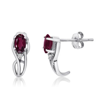 14K White Gold Curved Ruby and Diamond Earrings