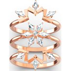 Magic Ring Set, White, Rose-gold tone plated