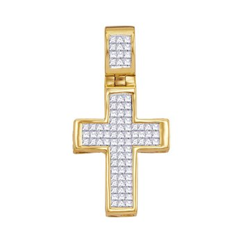 10kt Yellow Gold Womens Princess Diamond Roman Cross Religious Pendant 5/8 Cttw