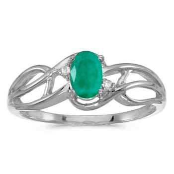 14k White Gold Oval Emerald And Diamond Curve Ring
