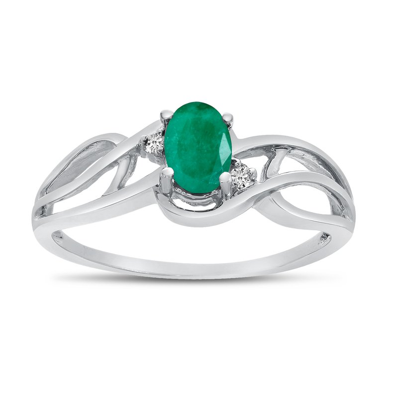 Color Merchants 14k White Gold Oval Emerald And Diamond Curve Ring