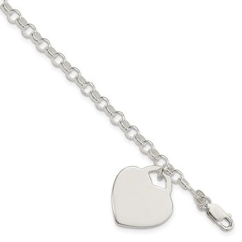 Sterling Silver Polished Engraveable Heart Bracelet