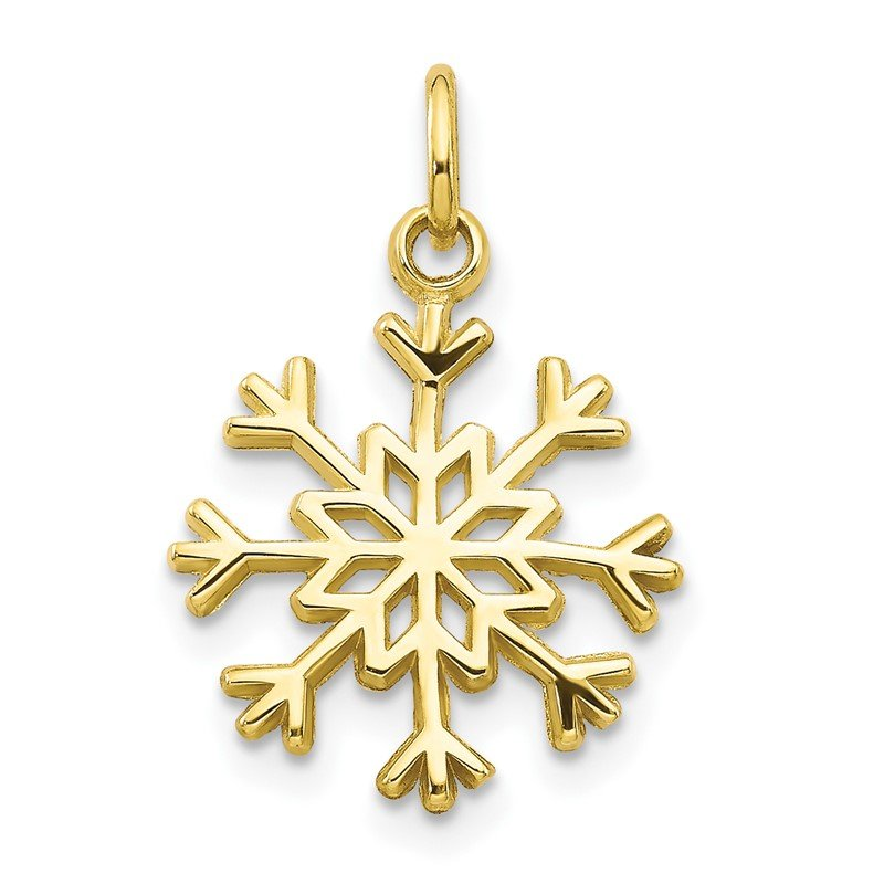 Quality Gold 10k Solid Polished Snowflake Charm