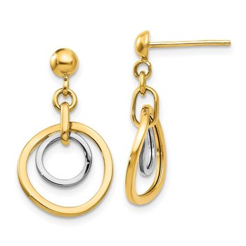 14k Two-tone Circle Post Dangle Earrings
