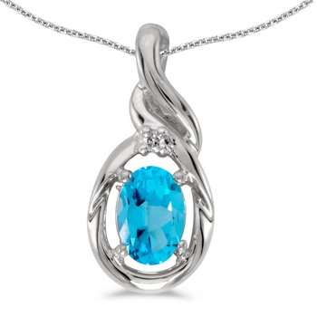 10k White Gold Oval Blue Topaz And Diamond Pendant
