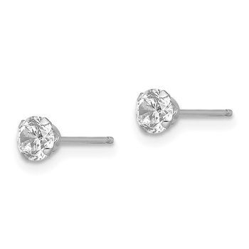 14k White Gold Madi K 4mm CZ Post Earrings