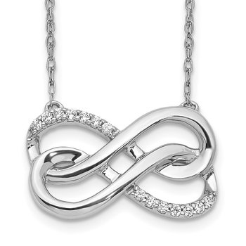 14k White Gold Diamond Double Infinity Symbol 18 inch Necklace