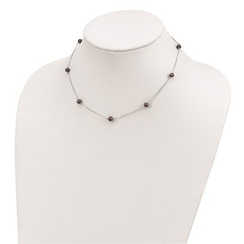 Sterling Silver RH-plated Fresh Water Cultured Peacock Pearl Necklace