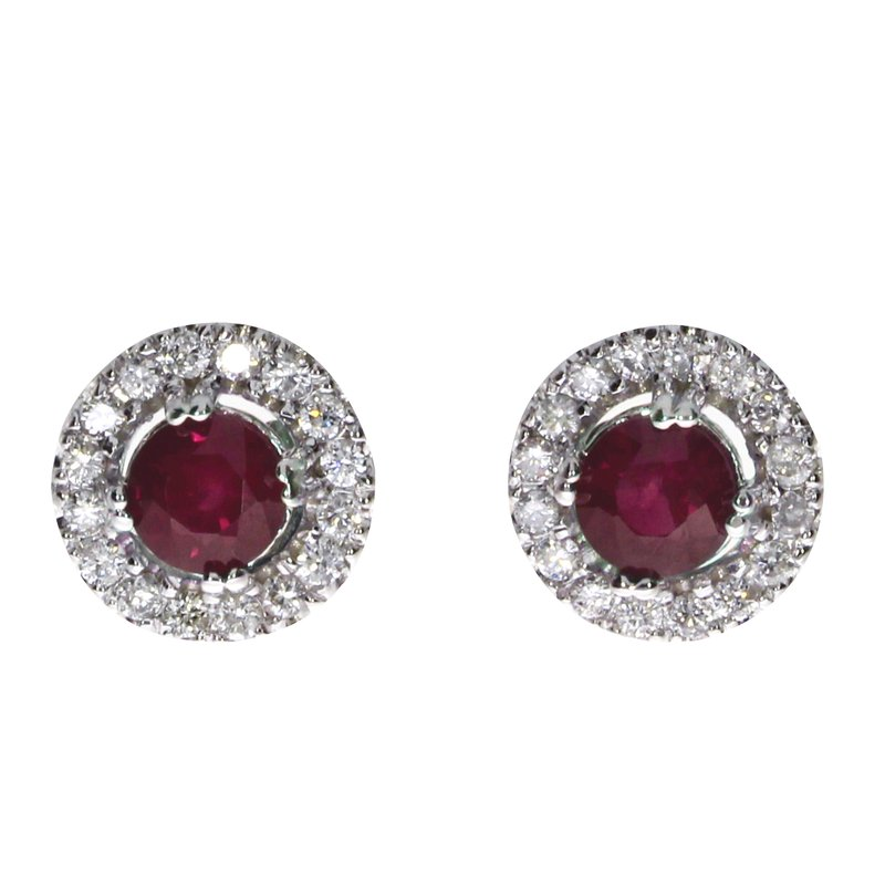 14k White Gold Ruby and Diamond Halo Earrings