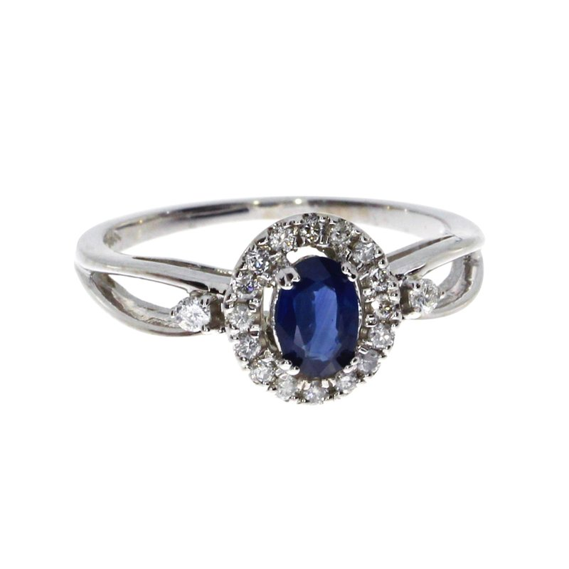 Color Merchants 14k White Gold Oval Sapphire and Diamond Halo Ring