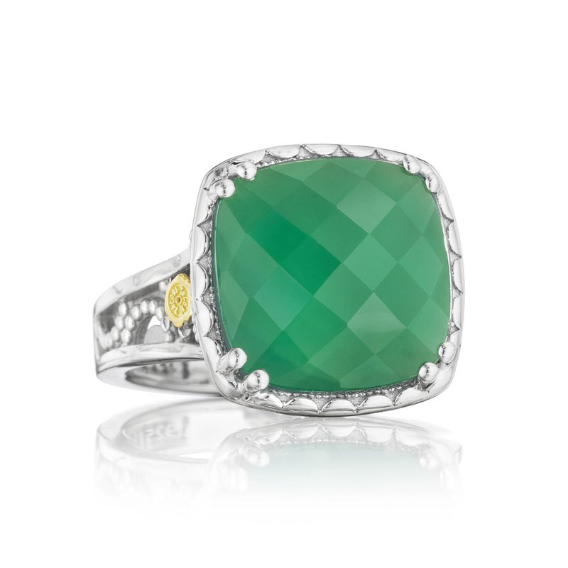 Tacori Fashion Crescent Ceiling Ring featuring Clear Quartz over Green Onyx