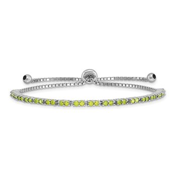 Sterling Silver Rhod-plated August Lime CZ Adjustable Bracelet