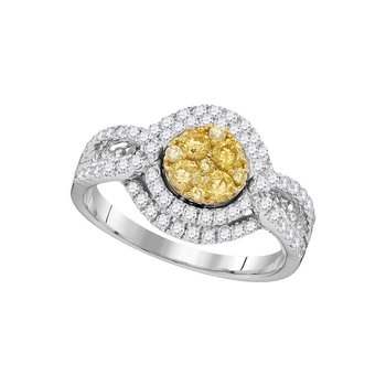 14kt White Gold Womens Round Yellow Diamond Cluster Bridal Wedding Engagement Ring 1.00 Cttw