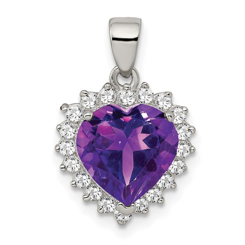 JC Sipe Essentials Sterling Silver Amethyst & CZ Pendant