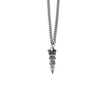 .22 Caliber Bullet With Stars Pendant