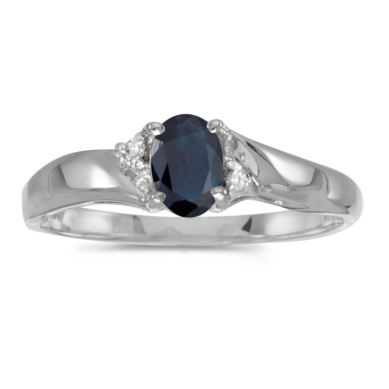 Color Merchants Sterling Silver Oval Sapphire And Diamond Ring