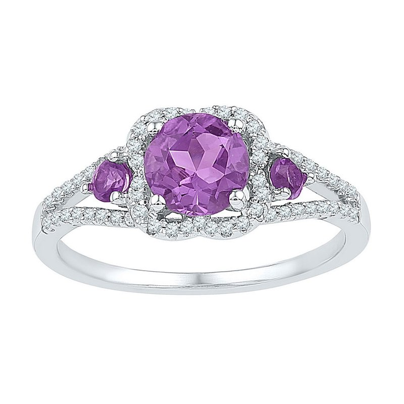 Kingdom Treasures Sterling Silver Womens Round Lab-Created Amethyst 3-stone Ring 1.00 Cttw