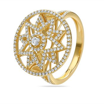 14K star design ring with 184 Diamonds 0.60CT