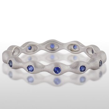 Ladies' White Gold Blue Sapphire Ring