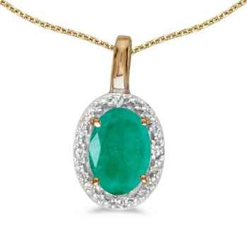10k Yellow Gold Oval Emerald And Diamond Pendant