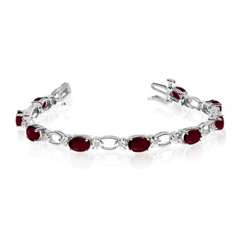 14k White Gold Natural Garnet And Diamond Tennis Bracelet
