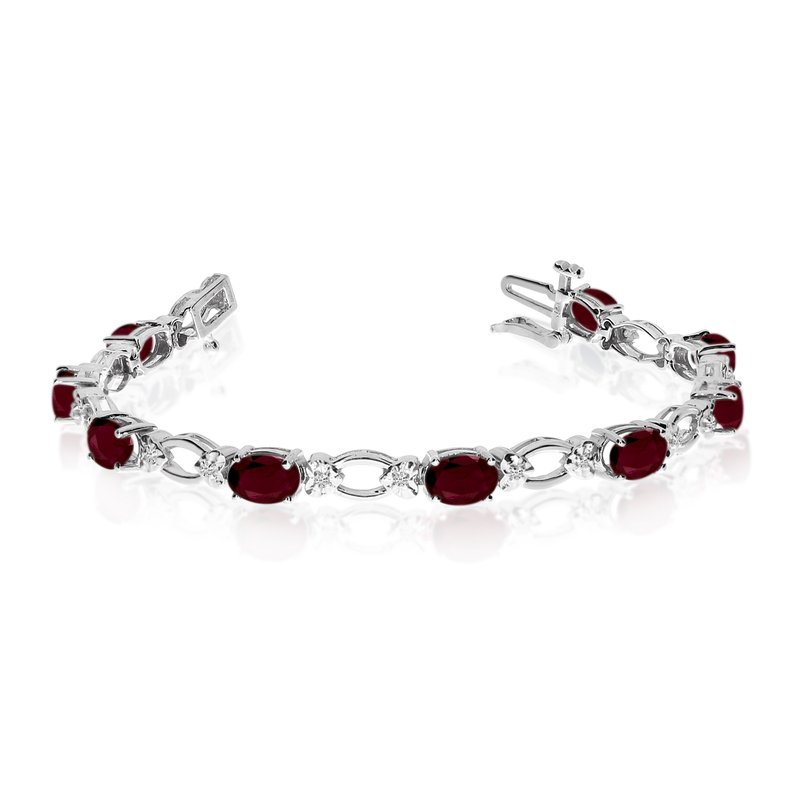 Color Merchants 14k White Gold Natural Garnet And Diamond Tennis Bracelet