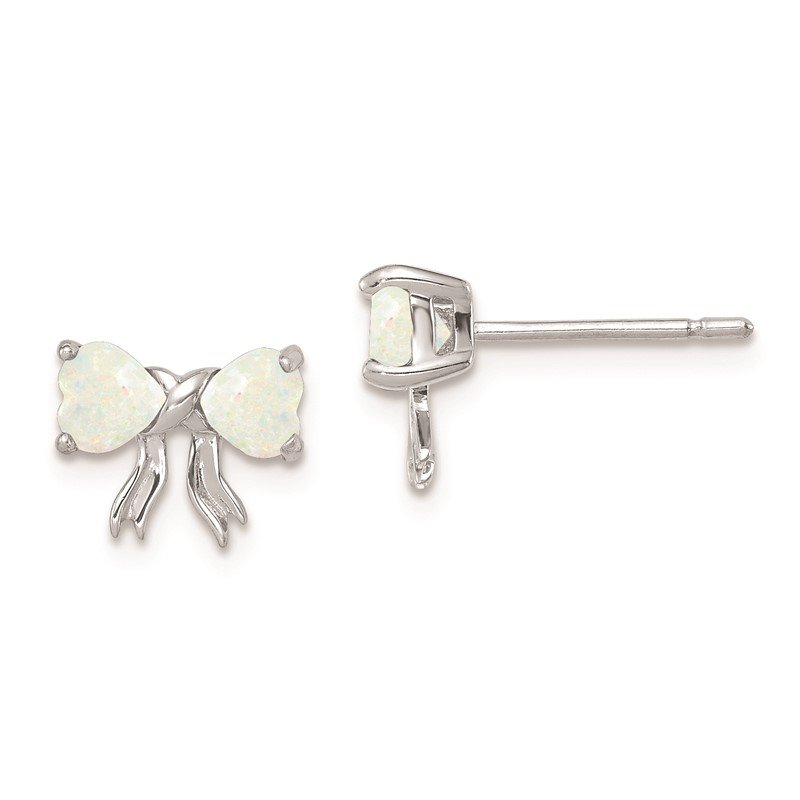Quality Gold 14k White Gold Polished Created Opal Bow Post Earrings