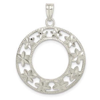 Sterling Silver Diamond-cut Flower Pendant