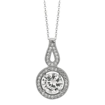 Silver Round CZ with Halo Necklace