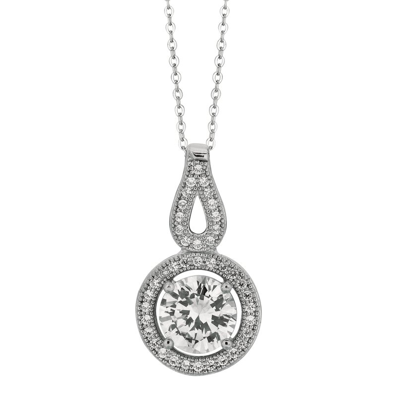 Royal Chain Silver Round CZ with Halo Necklace